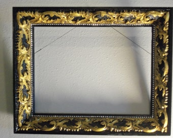 GORGEOUS French Style Heavily Carved Antique Hand Painted Black and Gold Heavy Wood Picture Frame Rhinestone Accents