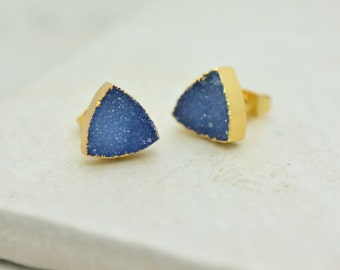 Blue Triangle Druzy Crystal Earring Posts with 24K Gold Dipped 10mm Triangle Earring Studs