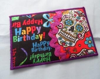 Quilted  Postcard - Handmade  Skulls Postcard - Happy Birthday Postcard - Patchwork  Postcard - Fabric  Postcard - Appliqué Postcard
