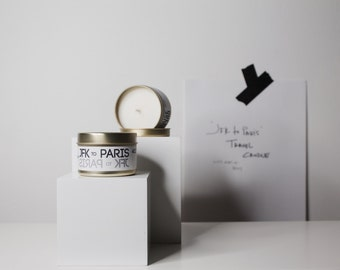 JFK to PARIS traveler //Soy Travel Candle Peony Scented