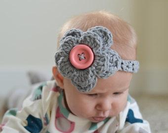 crochet baby headband, crochet baby headband with flower, crochet headband, baby headband, kids headband