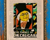 Cabinet of Dr. Caligari Art Deco Poster Print on an Unframed Upcycled Bookpage
