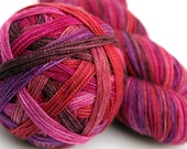 """Almost Perfect:  Self Striping Sock Yarn, Superwash Merino and Silk Fingering Weight, in """"Love Actually"""""""