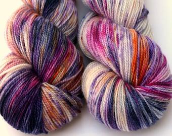 "Speckle Dyed Sock Yarn, Superwash Merino and Silk 80/20 Fingering Weight, in ""Anemone"""