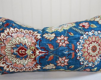 Blue, Red, Green and Ivory Floral Pillow Covers in Waverly Clifton Hall Gem
