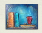 "My Books and Coffee  8""x10""/ Mixed Media Acrylics / small antique style art, old books, original art, gift idea, coffee, library office"
