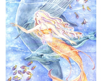 Mermaids Art print, Atlantic Mermaid  with Blue Whale  Humpback whale, Fairy Basslet fishes 8 x10 art print