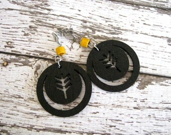 Black Tree Earrings : Wood Cut Jewelry