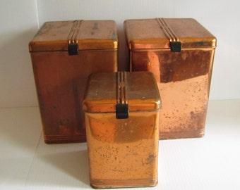Vintage Solid Copper Kreamer Canisters Bakelite Handles