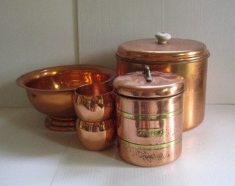 Vintage Copper Lot Canisters Punch Bowl