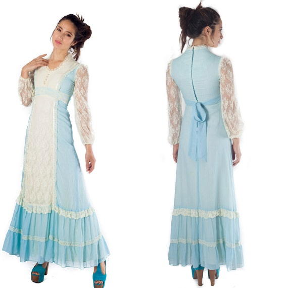 vintage 70s maxi dress boho bohemian long sleeve chantille lace floor length bridesmaid light baby blue folk country prairie peasant dress