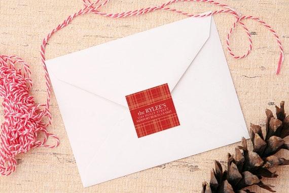 Joyful Plaid Address Labels - Return Address Christmas - 2 inch square
