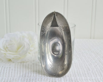 Sami pewter boat, vintage Swedish Lapland handmade bowl, primitive etched pattern, please see details
