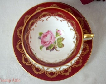 ON SALE Aynsley Red And White Teacup With Gold Trim And Pink Rose, English Bone China Teacup Duo, Wedding Gift, ca. 1960