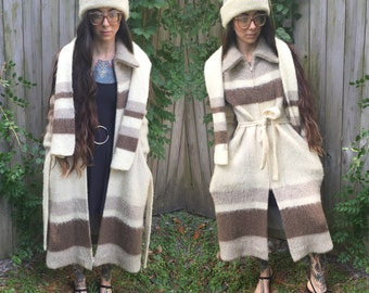 Rare Iceland Wool Jacket Scarf and Hat 1960's modern double zipper size small s