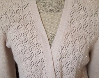 Vintage Woman's  Sweater Soft Pearl Sweater  Angora Wool Cardigan Small Medium