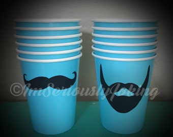 12 Beard and Mustache Paper Party Cups-beard cups-Mustache Cups-Little Man Party-Mustache Party-The Handlebar- Variety of colors cups-Mustac