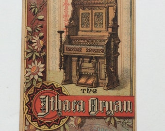 Ithaca Organ Victorian Trade Card Ithaca Organ and Piano Company Office and Factory Image on Back Ithaca NY,  Stamped S.B. Goodell Nevada
