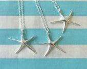 silver starfish necklaces, starfish jewelry, bridesmaid necklaces, beach wedding, bridesmaid gift