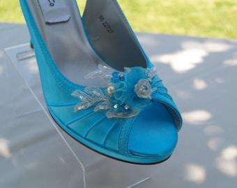 Turquoise Wedding Shoes, Medium Comfortable Satin Heels - hand embellished  organza flowers & beads, Slingback, Open Peep Toe, Accessory