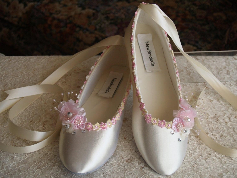 Wedding Flats Ivory Pink Satin Shoes Pink Bridal Flat shoes