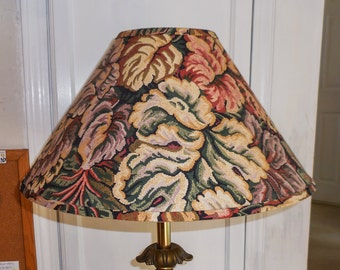 Multi Color Lamp Shade Abstract Floral Fabric Coolie Style with Mario Buatta Flair