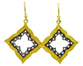 Sterling Silver Earrings Dangle 14K Gold Vermeil White Zircons Cut Out Patterns
