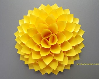 paper dahlia || 10 1/8'' dahlia wall decor || origami flower ||| wedding gift || origami gifts || dahlia door wreath -yellow