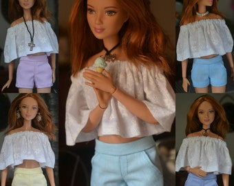 Cotton Candy Combo of Five (5) City Shorts for Barbie, Fashion Royalty, Poppy Parker and other 11.5 to 12inch dolls
