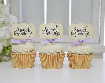 Sweet Beginnings Cupcake Toppers/Wedding Cupcake Toppers/Bridal Shower/Anniversary
