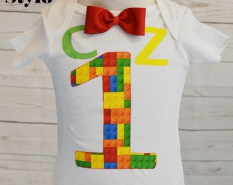 Lego Birthday Shirt, Lego party, Lego birthday, Lego shirt,boy shirts, birthday boy, bow tie, lego blocks. lego theme.