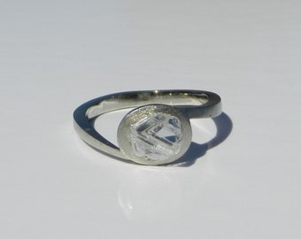 Natural Untreated 1.30 Carat Rough Diamond Engagement Ring Solid 18kt White Gold ~ Gem Quality