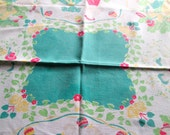 Leacock Vintage Tablecloth Hearts and Flowers 1950s Turquoise Color Young Couple Dancing