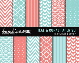 Coral & Teal Blue Digital Papers - Teal Paper Set - Set of 12 - COMMERCIAL USE Read Terms Below