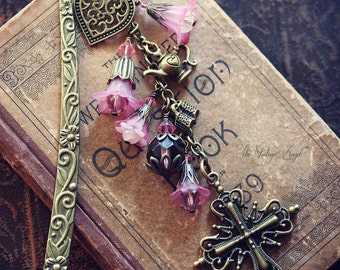 TEA TIME with GOD Victorian Heirloom Metal and Beaded Bookmark, Ready to Ship