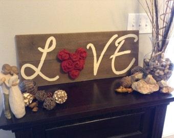 "Rustic wooden burlap rosette ""LOVE"" sign/ burlap rosette/ rustic decor/wooden love decor"