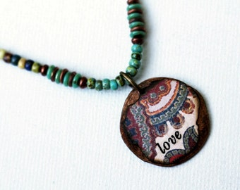 Love Pendant Necklace Mixed Media Jewelry Short Hippie Necklace Boho Seed Bead Necklace Inspirational Jewelry Bohemian Necklace Colorful