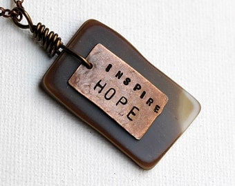 Hope Stamped Necklace, Brown, Stamped Jewelry, Stone Beaded Jewelry, Short Pendant Necklace, Bohemian, Inspirational, Inspire