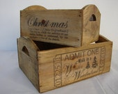 set 2,vintage,small wooden crates with Christmas typography,advertising designs-shabby chic