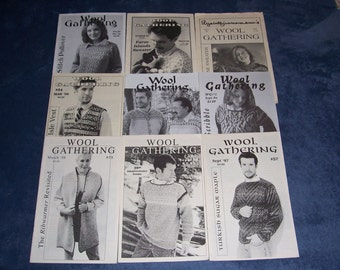 Wool Gathering Pattern Booklets...Set of 9...1987-2004...Collectible Knitting Books..