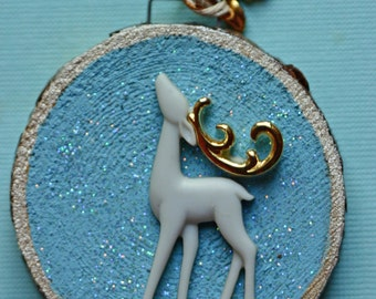 Reindeer, holiday, ornament, small birch wood slice, painted, winter, snow, natural, blue and white, gold, glitter, round art