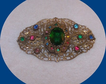 Vintage Estate, Large Filigree Gold tone Brooch with Multi colored Rhinestones.