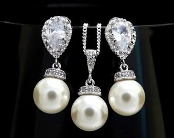 Pearl Earrings Necklace Set Swarovski CREAM Pearl Wedding Jewelry Bridesmaid Gift Zirconia Pearl Bridal Jewelry Set Silver