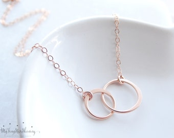 Rose Gold Necklace Eternity Necklace Sisters Necklace Eternity Circle Necklace Double Eternity Circle Necklace Rose Gold Circle Necklace