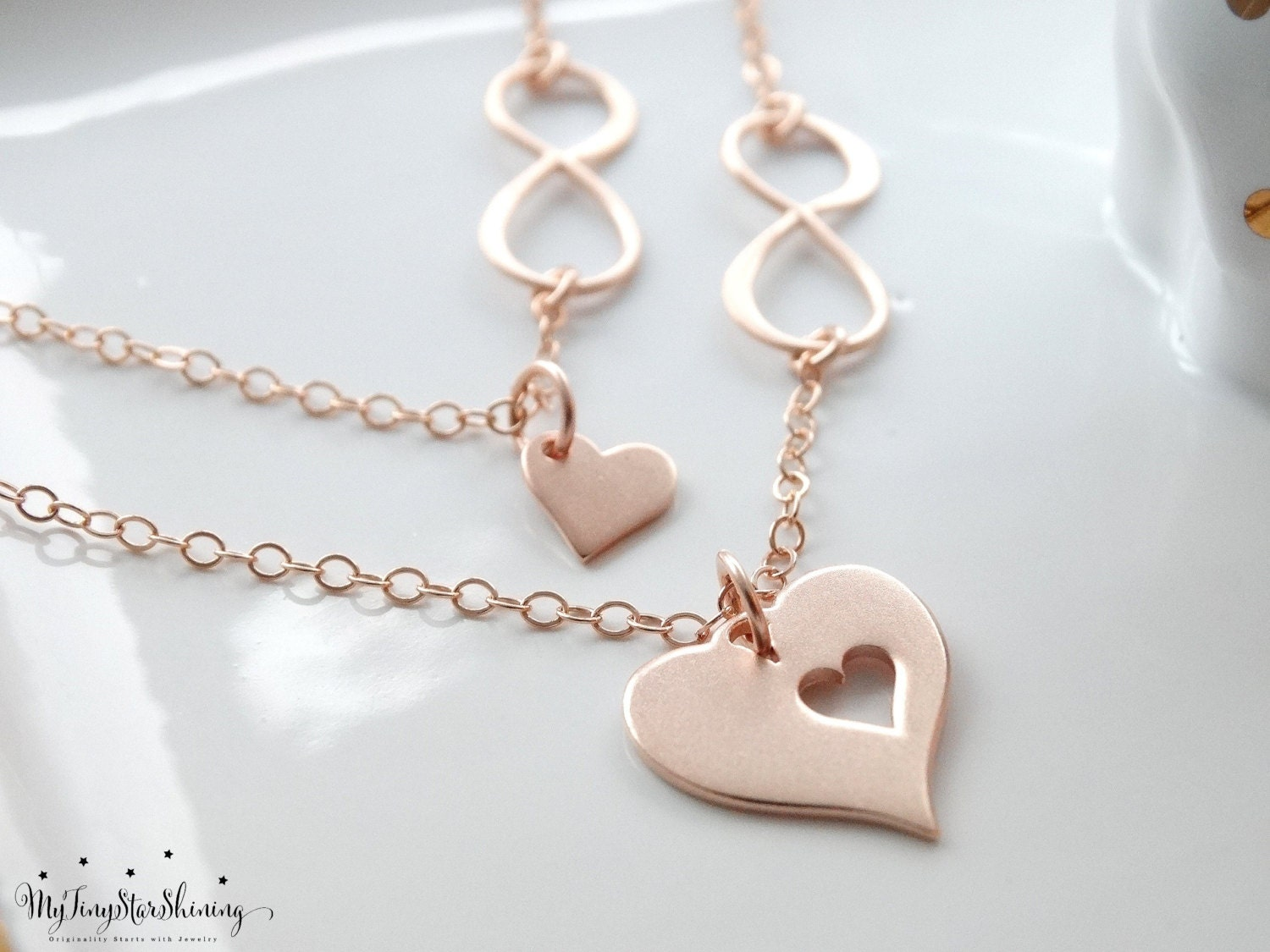 Mother Daughter Necklace Rose Gold Infinity Heart Necklace