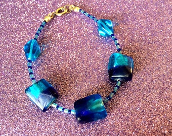 Turquoise Blue and Dark Blue Foiled Chamfer Glass Handmade Bracelet approx 7 inches Ladies Jewellery Gifts for her