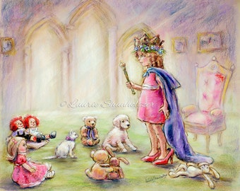 "Royal Princess, nursery childhood pretend illustration Canvas or art paper print,""Our Princess Holding Court"" Laurie Shanholtzer"