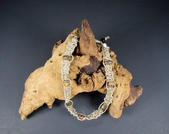 Handmade Necklace, Woven Hemp and Beads