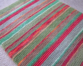 Knitted and Felted Wool Rug / Rectangular Area Rug / Striped Red Brown Green Yellow Rug