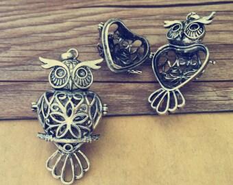 2pcs  ANTIQUE silver  owl hollow out  (copper) box charm pendant  29mmx51mm